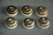 6 Pc Vintage Crabtree Brass & Ceramic Victorian Electric Switches, England