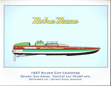 1947 Notre Dame - Hydroplane Art Print - by R.J. Tully - Green Cover & Side