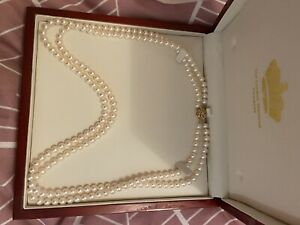 Gorgeous Double Strand Of Cultured Pearls With Gold Clasp