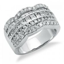 Cut Diamond Right Hand Cocktail Ring 14K White Gold 1.86C Princess & Round