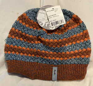 Turtle Fur Hand Knit TriFur Winter Hat On Belay # 136 102785 Orange *NEW