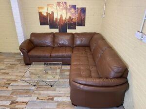 Large Comfy Brown Leather Corner Sofa