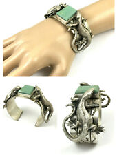 Beautiful Native American Detailed Turquoise Hand Stamped Lizard Bracelet