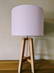 Light Pink Premium Wooden Table Lamp & Lampshade Lounge / Bedroom Lighting