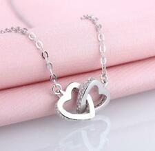 Pave CZ 925 Sterling Silver Double Heart Ring Simulation Pendant Necklace