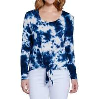 Seven7 Women's Pullover Tie Dye Tie Front Long Sleeves Top Indigo Large Size