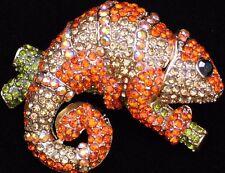 Orange Gold Reptile Salamander Iguana Gecko Lizard Chameleon Pin Brooch Jewelry