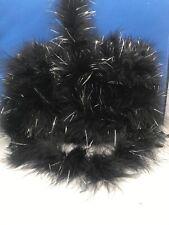 Marabou Feather Trim Black With silver Lurex