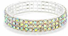 5 Row Stretch Elastic Silver Crystal Aurora Borealis Ab Rhinestone Bracelet