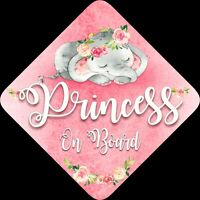 Non Personalised Child / Baby On Board Car Sign ~Sleeping Elephant ~ Princess
