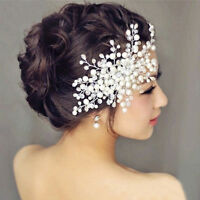 Elegant Bride Crystal  Pearl Rhinestone Headpiece Bridal Wedding Hair Comb LA