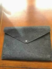 Charcoal Grey Gray Woolen Felt Flannel Case Bag Snap Envelope Pouch  B12