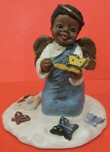 "ALL GODS CHILDREN 4 1/4"" CHARITY ANGEL PAINTING BUTTERFLIES FIGURINE-M HOLCOMBE"