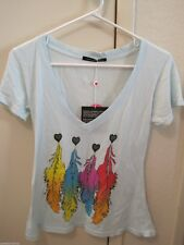 Wildfox Couture Light Blue Feather V Neck Tee XS