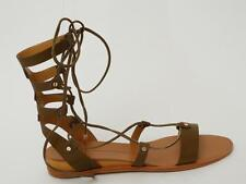DOLCE VITA Womens Olive Leather Gladiator Lace-Up Sandals Flats Shoes 8.5 NEW