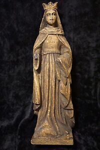 Catholic Antique Wood carved tall Santos Saint Holy Statue Mary Queen of Heaven