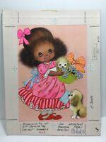 Vtg 75 Norcross Mothers Day Card Puppies Girl Pink Dress Original Artwork Proof