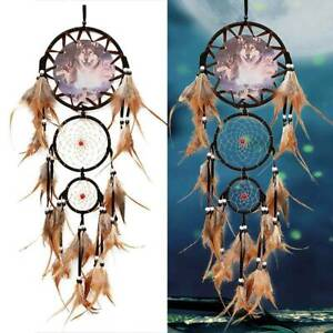 Large Indian Dream Catcher With Feathers Wall Hanging Decoration Ornament Wolf