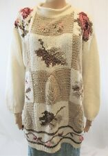 Women's 14/16 Beige Sweater, Knitted Turtleneck Pullover, 3/4 Sleeve by Diana