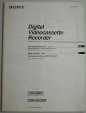 Manual - Sony DSR-20 Digital Videocassette Recorder Instructions - English