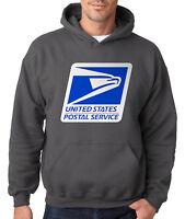 USPS LOGO POSTAL CHARCOAL HOODIE Service Hooded Sweatshirt Chest United States