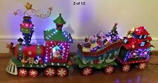 Vintage Musical Fiber Optic Christmas Santa Train Tin Holiday Train 3 Piece