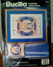 Bucilla 'Celestial' Picture Pillow Sun Moon Stars Counted Cross Stitch Kit 40743