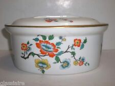 Vintage French Porcelain TUREEN pot à oille BLUE Yellow ORANGE Flowers 7.75""