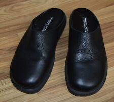 Nine West Cloud 9 Black Leather Slides Mules Clogs Shoes Ladies Sz 6 M