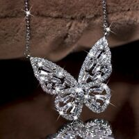 18k white gold gp made with swarovski crystal butterfly classic pendant necklace