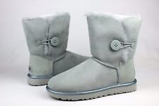 UGG BAILEY BUTTON II METALLIC ICEBERG COLOR SUEDE SHEEPSKIN BOOTS SIZE 9 US