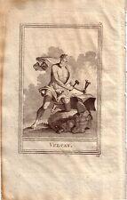 Vulcanus Gott des Feuers römische Mythologie Portrait Orig Kupferstich 1800