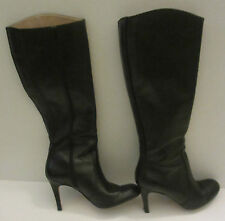 LANDS' END size 7.5M black ALLAIRE High Heel Tall w/box Leather Boots preowned