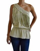 NWT DOLCE & GABBANA WOMEN'S ONE-SHOULDER BLOUSE AUTHENTIC WOMEN'S FRINGE SIZE 40
