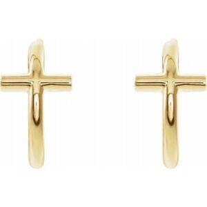 Cross Huggie Hoop Earrings 14K Rose Yellow White Gold or Platinum Quality