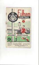 Fulham Charlton Athletic Football programas 1951/52 V