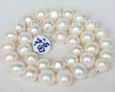 """17"""" 15mm natural white freshwater pearls necklace 925 silver clasp j9604"""