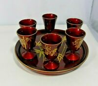 Japanese Urushi Nuri Red Lacquered Wine Goblets and Service Tray 7 Piece Set