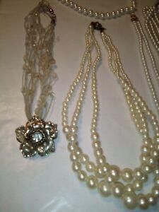 Vintage Estate Sale Jewelry 14 Pearl Necklace Lot
