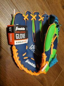 """Franklin Sports Teeball Glove - Meshtek 9.5""""- Left Hand Thrower Multi-Color, NEW"""