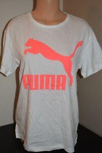 PUMA Sportswear Women's Classics Logo T-Shirt White Pink 59551402 Size M