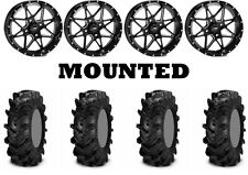 Kit 4 ITP Cryptid Tires 30x10-14 on ITP Tornado Matte Black Wheels CAN