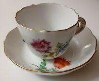 Antique Meissen Demitasse Cup & Saucer, Floral
