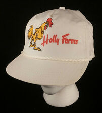 Vtg Holly Farms White Chicken Rooster Baseball Cap Hat Snapback Yellow Made USA