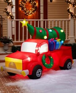 Red Christmas Truck 7' x 5.5'  Infatable with Blinking Ornaments New