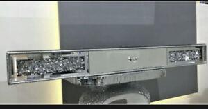 Mirrored Diamond Crush Floating Wall Shelf Crystal Modern 80x20 Sparkly bling