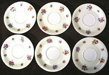 SET of 6 vintage CHATEAU China CZECHOSLOVAKIA saucers FLORAL Flowers w/ Gold Rim