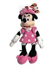 "Disney Minnie Mouse 8"" Clip On Plush Pink Dress Small Zip Pocket Girls 3+"