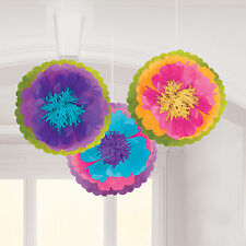 3 Storybook Mad Hatter Children's Tea Party Hanging Fluffy Puffer Decorations