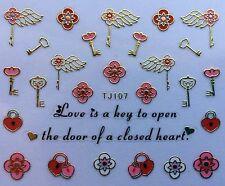 Nail Art 3D Decal Stickers Valentine's Day Wedding Love is the Key Locket Tj107